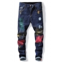 Men's New Fashion Painted Printed Embroidery Detail Dark Blue Regular Fit Ripped Jeans