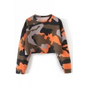 Womens Chic Cool Street Long Sleeve Round Neck Cropped Camo Sweatshirts