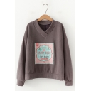 Hot Fashion V Neck Long Sleeve CANDY SHOP Letter Printed Pullover Sweatshirt