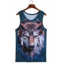 Cool Unique Sleeveless Round Neck 3D Tribal Feather Wolf Printed Blue Tank Top