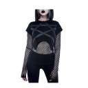 Gothic Style Black Long Sleeve Sheer Mesh Patch Sexy Hoodie for Women