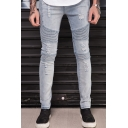 New Fashion Plain Pleated Patched Men's Trendy Frayed Ripped Biker Jeans