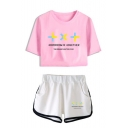 New Popular TXT Letter Printed Short Sleeve Crop Tee with Casual Dolphin Shorts Two-Piece Set