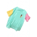 Summer Colorblock Patch Sleeve Round Neck Lion Pocket Printed Cute T-Shirt