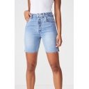 Hip Hop Style High Waist Stretch Slim Fitted Bermuda Denim Shorts