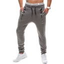 Men's Hot Fashion Leather Patched Zip Embellished Drawstring Waist Casual Sports Pencil Pants