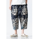 Chinese Style Unique Printed Loose Fit Casual Cropped Wide Leg Pants