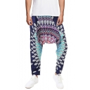 National Style New Fashion Unique Printed Loose Fit Casual Baggy Drop-Crotch Harem Pants