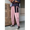 New Fashion Colorblock Patched Elastic Cuffs Casual Tapered Cargo Pants with Side Pocket for Guys