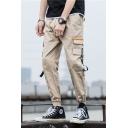 Men's New Fashion Simple Plain Ribbon Embellished Drawstring Waist Elastic Cuffs Sports Cargo Pants