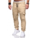 Mens Hot Fashion Solid Color Pleated Patched Drawstring Waist Slim Casual Cargo Pants with Side Pockets