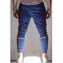 Men's New Fashion Letter CONVINCE YOURSELF Printed Navy Cotton Sweatpants Fitness Pencil Pants