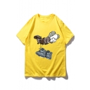 Summer Hot Popular Short Sleeve Shoes Cartoon Figure Printed Loose Cute T Shirt for Couple