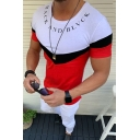 Hot Sale Short Sleeve Round Neck BACK AND BLVCK Letter Printed Colorblock Slim Fitted Tee