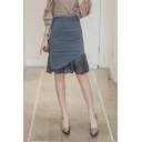 Summer High Waist Sheer Lace Patch Fishtail Hem Midi Bodycon Skirt for Office Lady