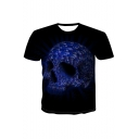 New Arrival Black Short Sleeve Round Neck Letter Skull Printed T Shirt