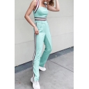 Stylish Straps Sleeveless T Shirt with Straight Pants Green Contrast Trim Holiday Two Piece Set