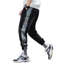 Street Style Popular Camouflage Printed Stripe Side Elastic Cuffs Loose Fit Trendy Track Pants for Men