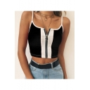 Summer Hot Trendy Straps Sleeveless Zip Front Colorblock Patch Crop Cami Top