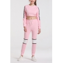 Womens Stylish Pink Stripe Long Sleeve Crop Sweatshirt with Slim Fit Pants Sports Co-ords