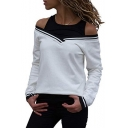 Womens Hot Fashion Fake Two-Piece Cold Shoulder Long Sleeve T-Shirt