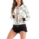 Womens Fancy Floral Printed Stand Collar Long Sleeve Zip Up Fitted Baseball Jacket
