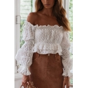 Summer Womens Holiday Beach Fashion Ruffled Hem Long Sleeve Boho Style White Off Shoulder Blouse