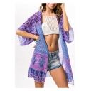 Woemns Summer Boho Style Holiday Beach Chiffon Kimono Blouse