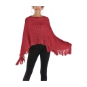 Womens New Fashion Plain Tassel Hem Asymmetrical Knit Poncho Knitwear