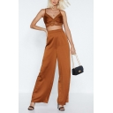 Hot Trendy High Waist Solid Color Brown Wide-Leg Pants