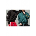Men's New Unique High Neck Long Sleeve Letter Print Zip Up Loose Track Jacket