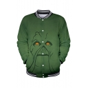 Hot Popular Monster Pattern Stand Collar Long Sleeve Green Unisex Baseball Jacket