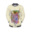 Hot Popular Swamp Thing Pattern Stand Collar Long Sleeve Beige Baseball Jacket
