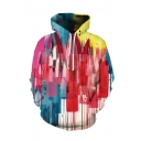 Popular Fashion Colored Paint 3D Printed Long Sleeve Loose Fit Casual Drawstring Hoodie