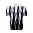 Mens New Trendy Classic Plaid Pattern Short Sleeve Lapel Collar Polo Shirt