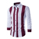 Mens Summer Stylish Long Sleeve Stand Collar Striped Button Front Casual Loose Shirt