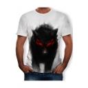 Mens New Trendy Short Sleeve Round Neck Wolf Printed White T-Shirt