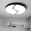 Metal Circular LED Ceiling Light Modern Design Flush Light Fixture in Black for Sitting Room