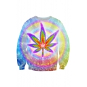 Popular Fashion Colorful Halo Leaf 3D Printed Round Neck Long Sleeve Casual Pullover Sweatshirt