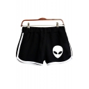 Fashion Cartoon Alien Printed Elastic Waist Sport Loose Dolphin Shorts