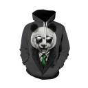 Hot Fashion Popular Panda 3D Printed Long Sleeve Casual Loose Dark Grey Hoodie