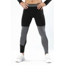 Mens New Fashion Colorblock Letter Printed Black Skinny Training Leggings