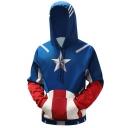 Cool 3D Printed Cosplay Costume Blue Long Sleeve Drawstring Hoodie