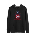 Popular Captain Star Shield Printed Long Sleeve Casual Pullover Hoodie with Pocket