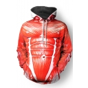 Popular Cosplay 3D Printed Drawstring Hooded Long Sleeve Red Pullover Hoodie