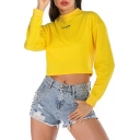 Fashion Yellow Long Sleeve Round Neck I am yellow Letter Printed Cropped Sweatshirt