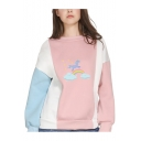 Cartoon Rainbow Unicorn Printed Long Sleeve Round Neck Color Block Pullover Sweatshirt