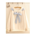 New Striped Bow-Tied Round Neck Long Sleeve Loose Pullover Sweatshirt