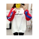 New Leisure Letter Printed Round Neck Long Sleeve Color Block Loose Sweatshirt