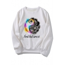 Find Balance Letter Print Long Sleeve Round Neck White Pullover Sweatshirt